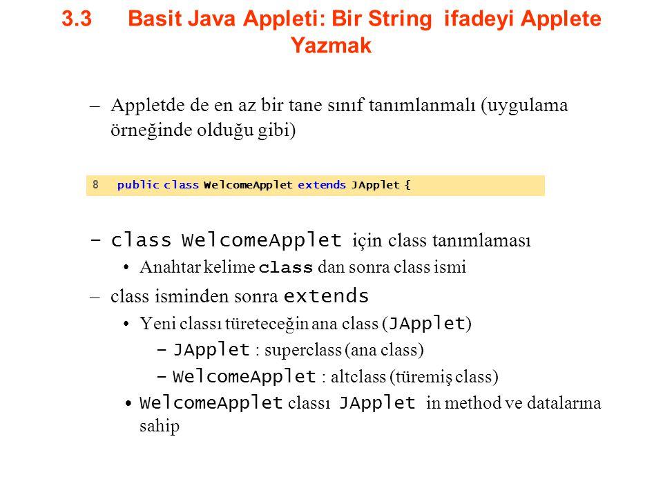 3.3Basit Java Appleti: Bir String ifadeyi Applete Yazmak –Appletde de en az bir tane sınıf tanımlanmalı (uygulama örneğinde olduğu gibi) –class Welcom