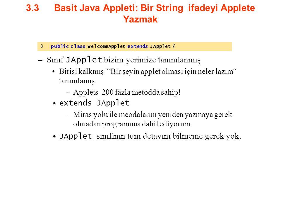 """3.3Basit Java Appleti: Bir String ifadeyi Applete Yazmak –Sınıf JApplet bizim yerimize tanımlanmış Birisi kalkmış """"Bir şeyin applet olması için neler"""