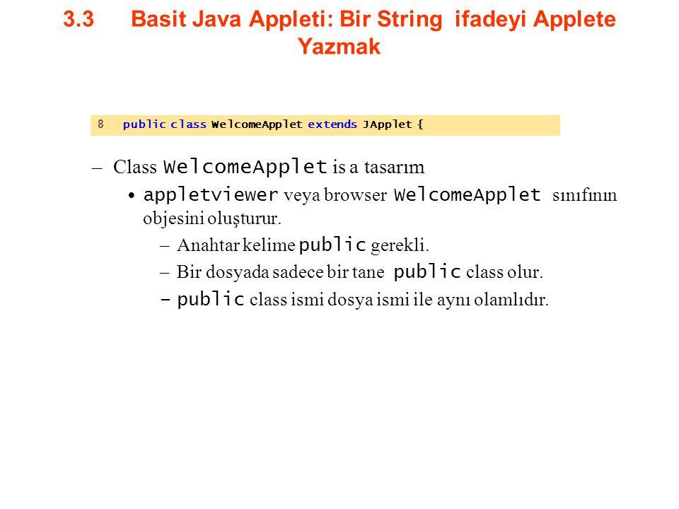 3.3Basit Java Appleti: Bir String ifadeyi Applete Yazmak –Class WelcomeApplet is a tasarım appletviewer veya browser WelcomeApplet sınıfının objesini