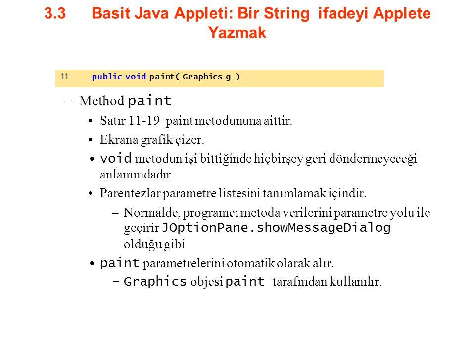 3.3Basit Java Appleti: Bir String ifadeyi Applete Yazmak –Method paint Satır 11-19 paint metodununa aittir. Ekrana grafik çizer. void metodun işi bitt