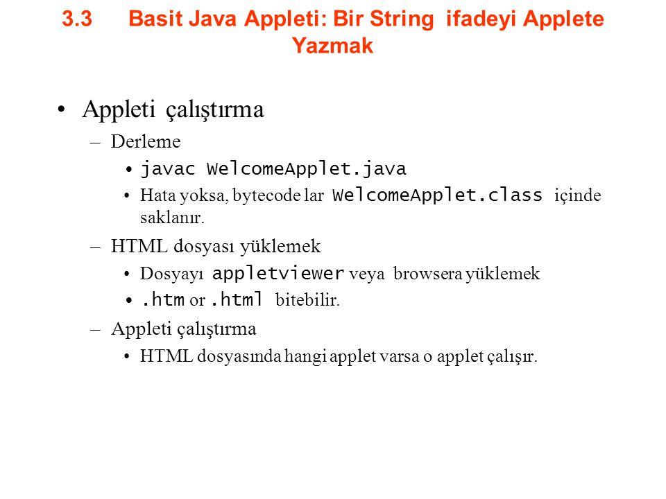 3.3Basit Java Appleti: Bir String ifadeyi Applete Yazmak Appleti çalıştırma –Derleme javac WelcomeApplet.java Hata yoksa, bytecode lar WelcomeApplet.c