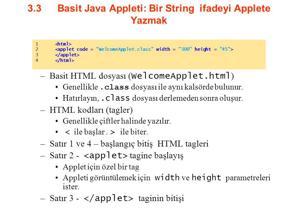 3.3Basit Java Appleti: Bir String ifadeyi Applete Yazmak –Basit HTML dosyası ( WelcomeApplet.html ) Genellikle.class dosyası ile aynı kalsörde bulunur