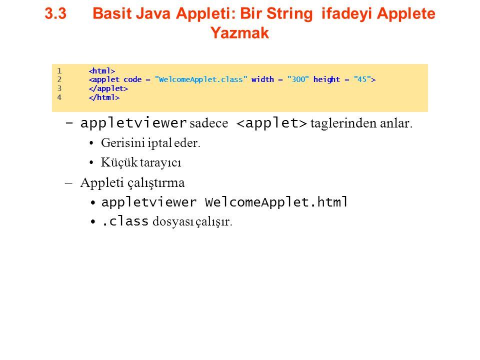 3.3Basit Java Appleti: Bir String ifadeyi Applete Yazmak –appletviewer sadece taglerinden anlar. Gerisini iptal eder. Küçük tarayıcı –Appleti çalıştır