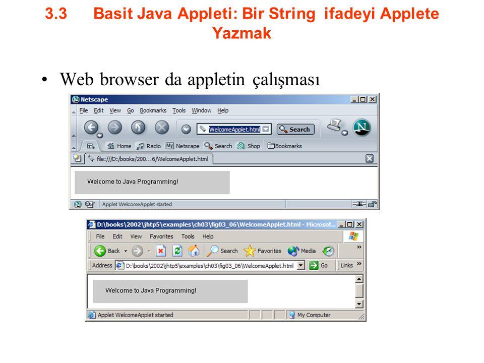 3.3Basit Java Appleti: Bir String ifadeyi Applete Yazmak Web browser da appletin çalışması