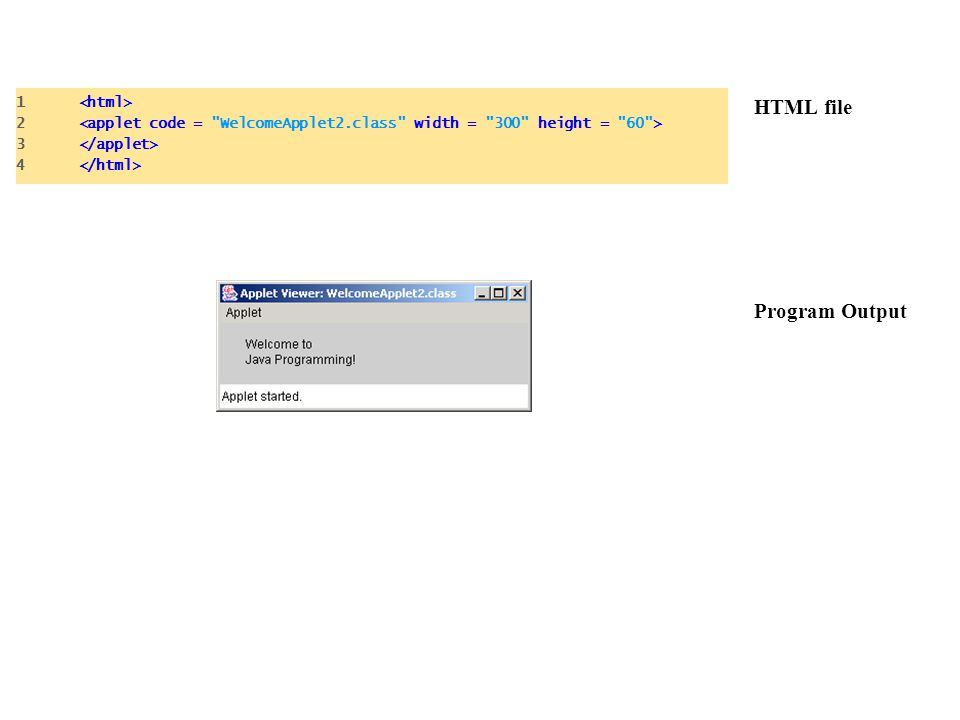 HTML file Program Output 1 2 3 4