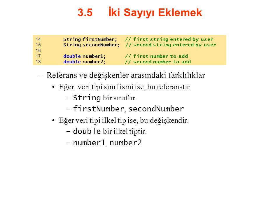 3.5 İki Sayıyı Eklemek –Referans ve değişkenler arasındaki farklılıklar Eğer veri tipi sınıf ismi ise, bu referanstır. –String bir sınıftır. –firstNum