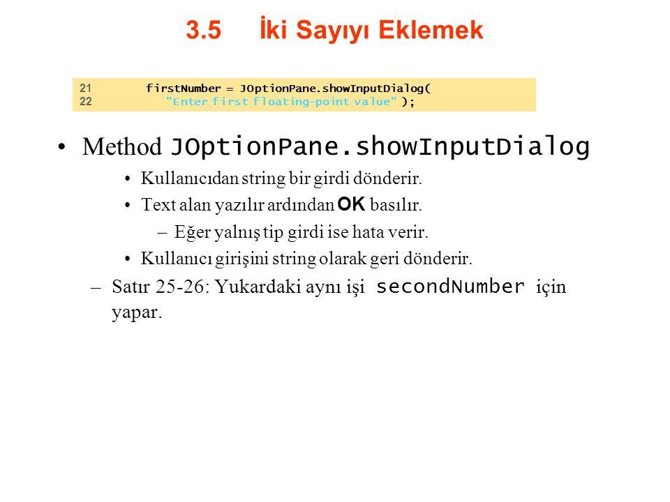 3.5 İki Sayıyı Eklemek Method JOptionPane.showInputDialog Kullanıcıdan string bir girdi dönderir. Text alan yazılır ardından OK basılır. –Eğer yalnış