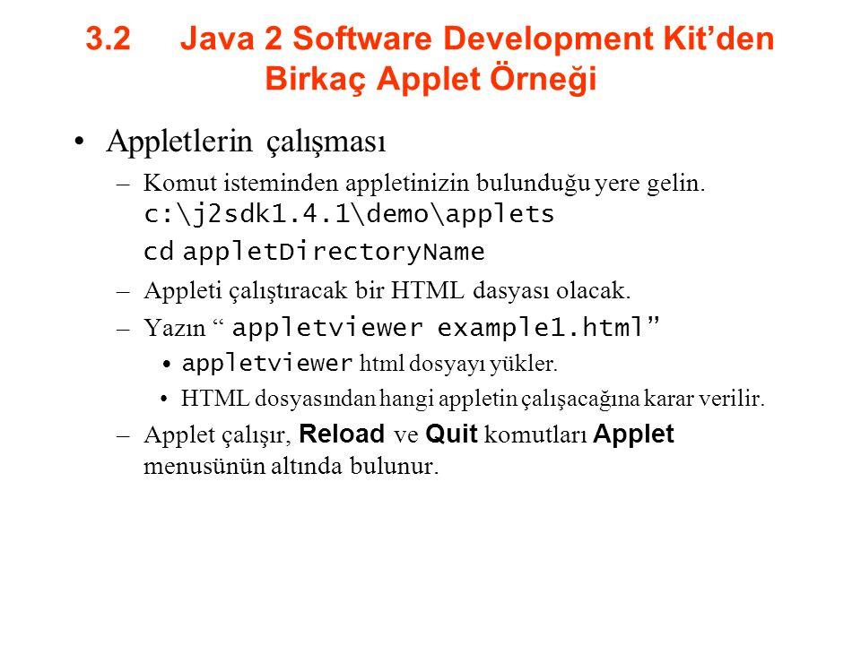 3.2 Java 2 Software Development Kit'den Birkaç Applet Örneği Appletlerin çalışması –Komut isteminden appletinizin bulunduğu yere gelin. c:\j2sdk1.4.1\