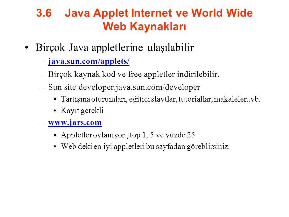 3.6Java Applet Internet ve World Wide Web Kaynakları Birçok Java appletlerine ulaşılabilir –java.sun.com/applets/java.sun.com/applets/ –Birçok kaynak