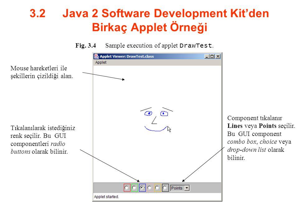 3.2 Java 2 Software Development Kit'den Birkaç Applet Örneği Fig. 3.4Sample execution of applet DrawTest. Mouse hareketleri ile şekillerin çizildiği a