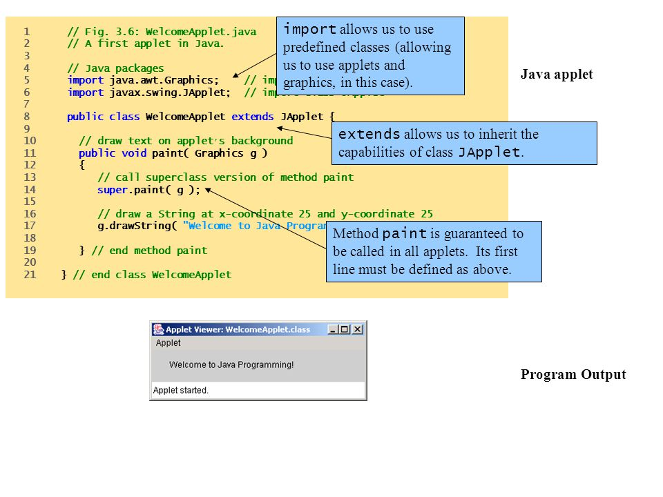 Java applet Program Output 1 // Fig. 3.6: WelcomeApplet.java 2 // A first applet in Java. 3 4 // Java packages 5 import java.awt.Graphics; // import c