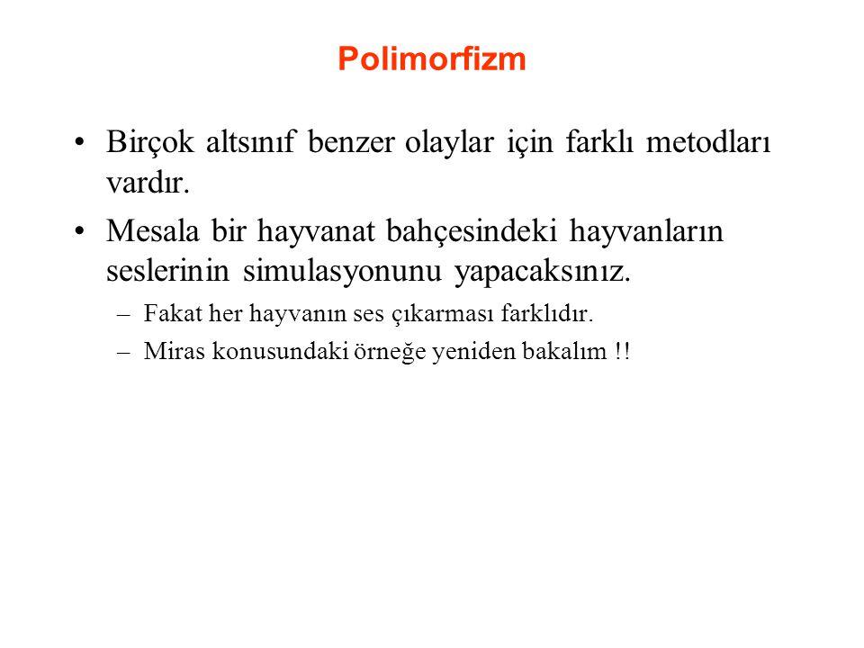 Polimorfizm Birçok altsınıf benzer olaylar için farklı metodları vardır.