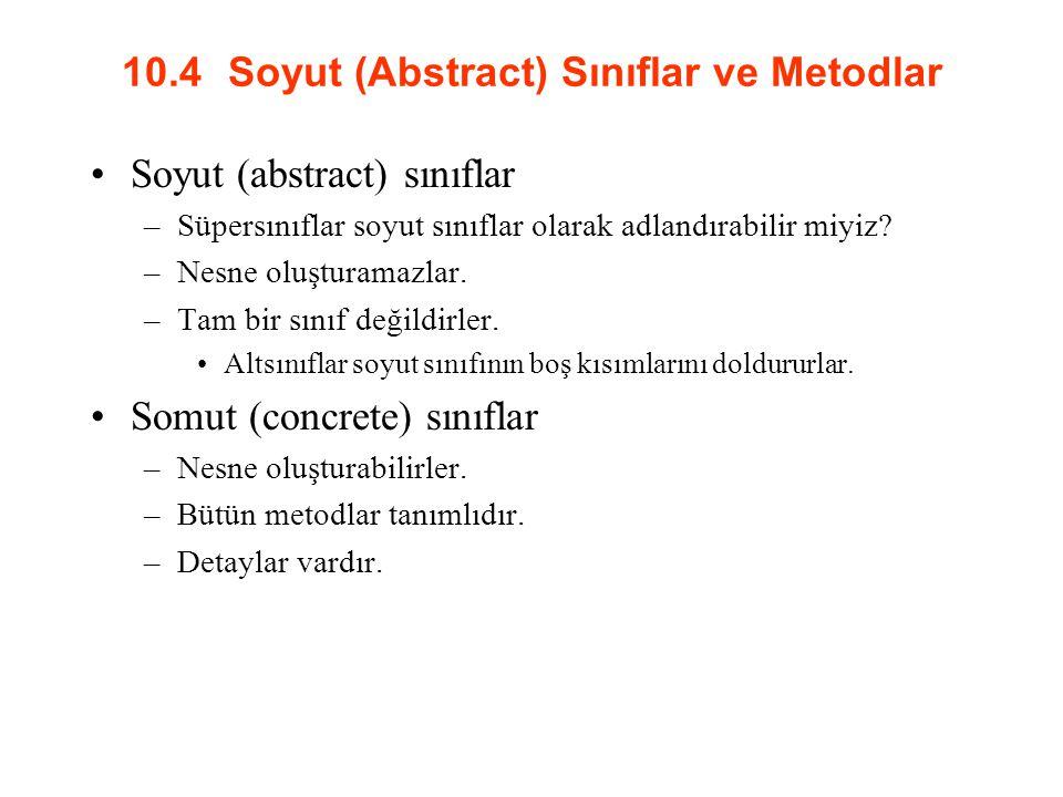 10.4 Soyut (Abstract) Sınıflar ve Metodlar Soyut (abstract) sınıflar –Süpersınıflar soyut sınıflar olarak adlandırabilir miyiz.