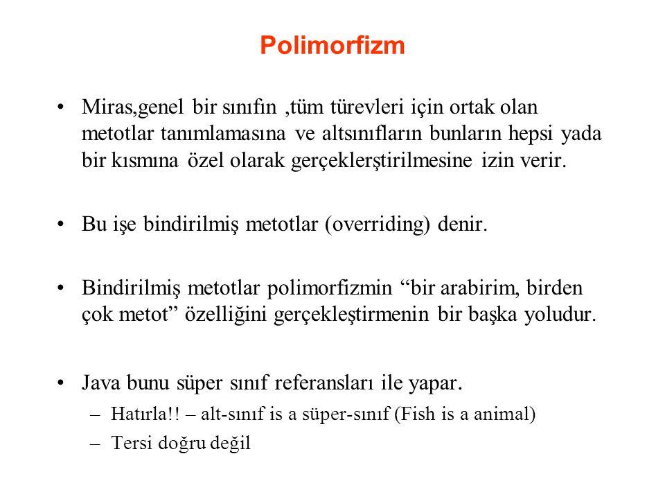 Polimorfizm Miras,genel bir sınıfın,tüm türevleri için ortak olan metotlar tanımlamasına ve altsınıfların bunların hepsi yada bir kısmına özel olarak gerçeklerştirilmesine izin verir.