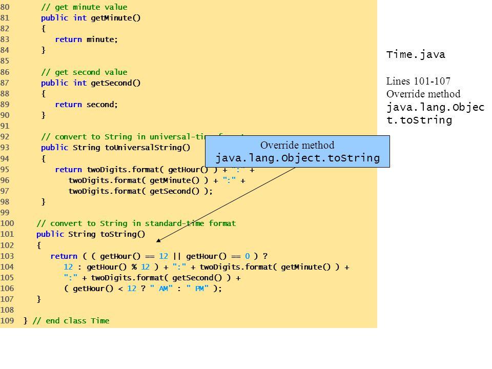 Time.java Lines 101-107 Override method java.lang.Objec t.toString 80 // get minute value 81 public int getMinute() 82 { 83 return minute; 84 } 85 86 // get second value 87 public int getSecond() 88 { 89 return second; 90 } 91 92 // convert to String in universal-time format 93 public String toUniversalString() 94 { 95 return twoDigits.format( getHour() ) + : + 96 twoDigits.format( getMinute() ) + : + 97 twoDigits.format( getSecond() ); 98 } 99 100 // convert to String in standard-time format 101 public String toString() 102 { 103 return ( ( getHour() == 12 || getHour() == 0 ) .