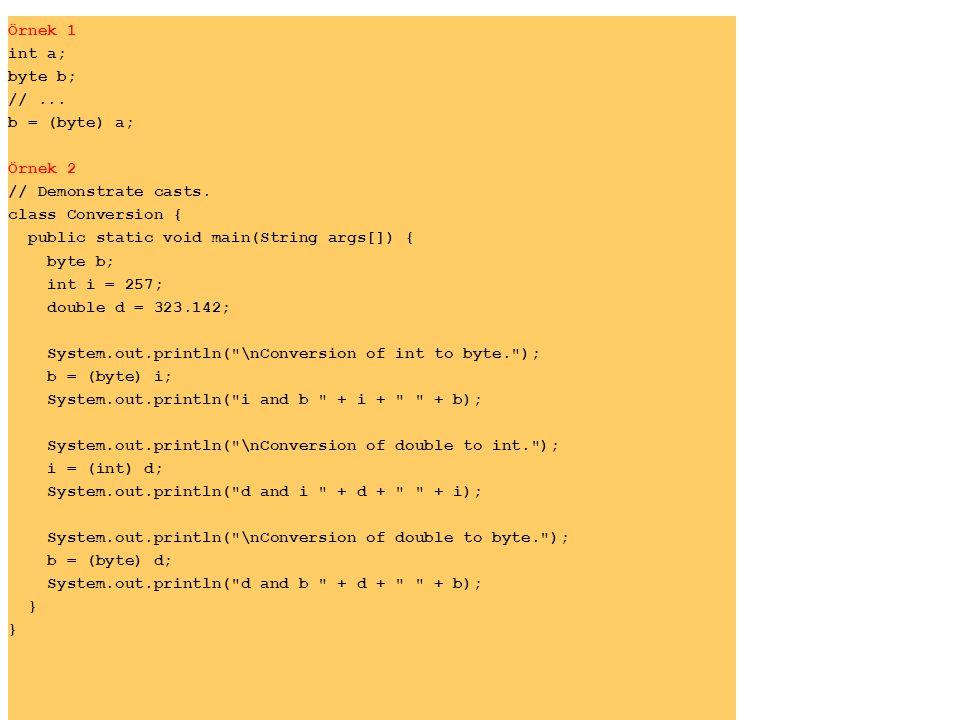 Örnek 1 int a; byte b; //...b = (byte) a; Örnek 2 // Demonstrate casts.