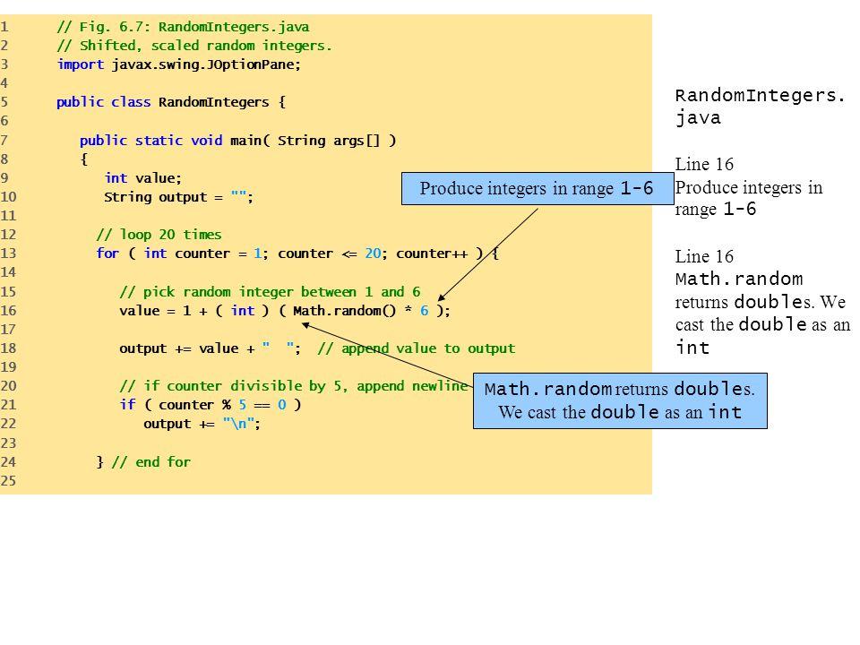 RandomIntegers.java Line 16 Produce integers in range 1-6 Line 16 Math.random returns double s.