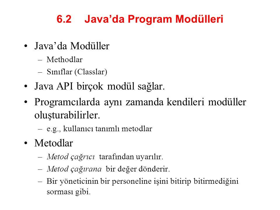 6.2 Java'da Program Modülleri Java'da Modüller –Methodlar –Sınıflar (Classlar) Java API birçok modül sağlar.