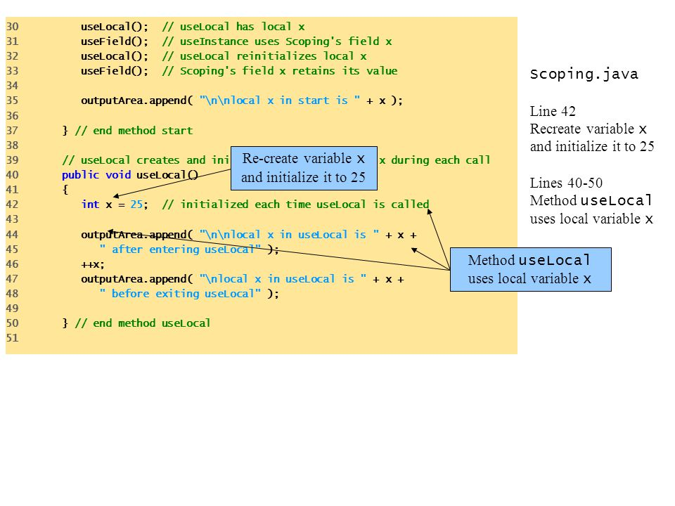 Scoping.java Line 42 Recreate variable x and initialize it to 25 Lines 40-50 Method useLocal uses local variable x 30 useLocal(); // useLocal has loca