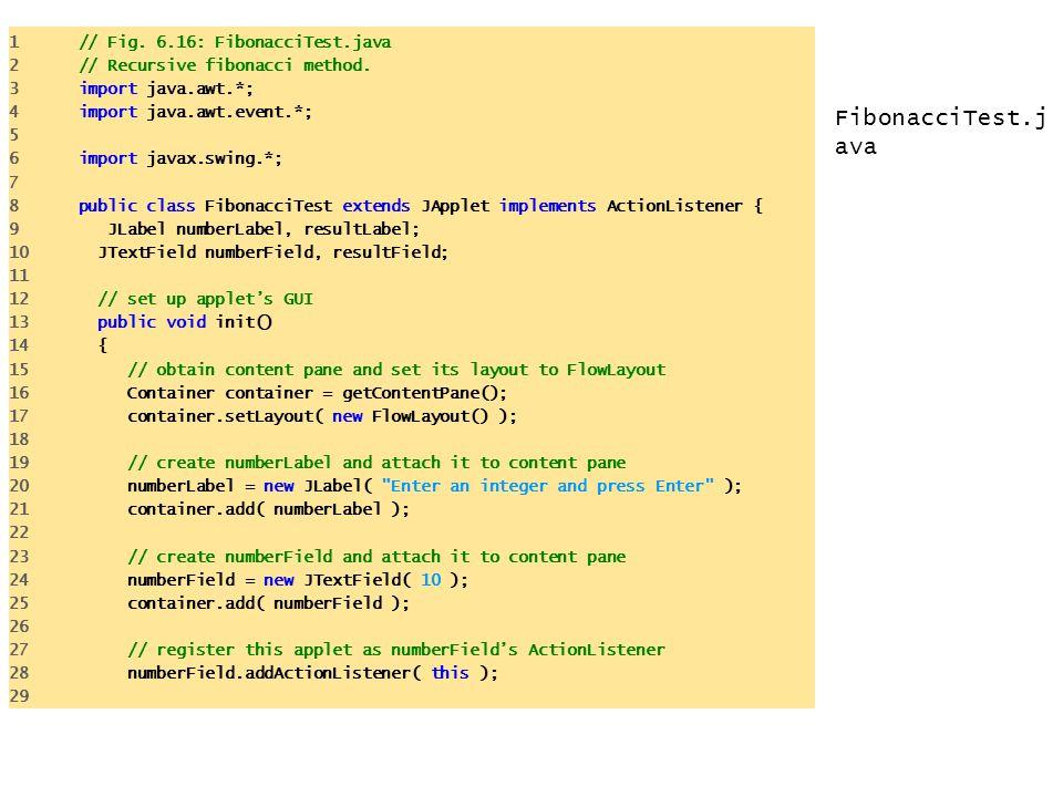 FibonacciTest.j ava 1 // Fig.6.16: FibonacciTest.java 2 // Recursive fibonacci method.