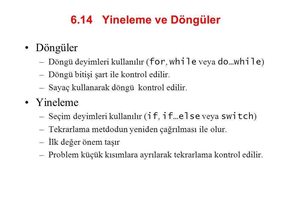 6.14 Yineleme ve Döngüler Döngüler –Döngü deyimleri kullanılır ( for, while veya do…while ) –Döngü bitişi şart ile kontrol edilir.
