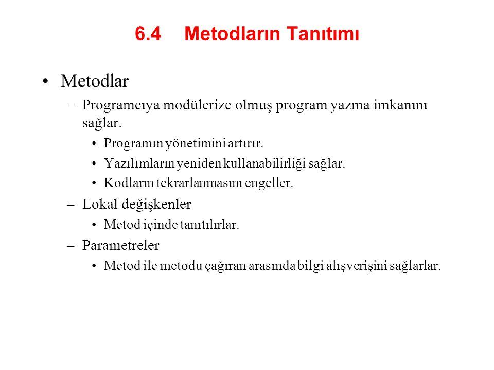 6.4 Metodların Tanıtımı Programcı kendi metodlarını yazabilir.
