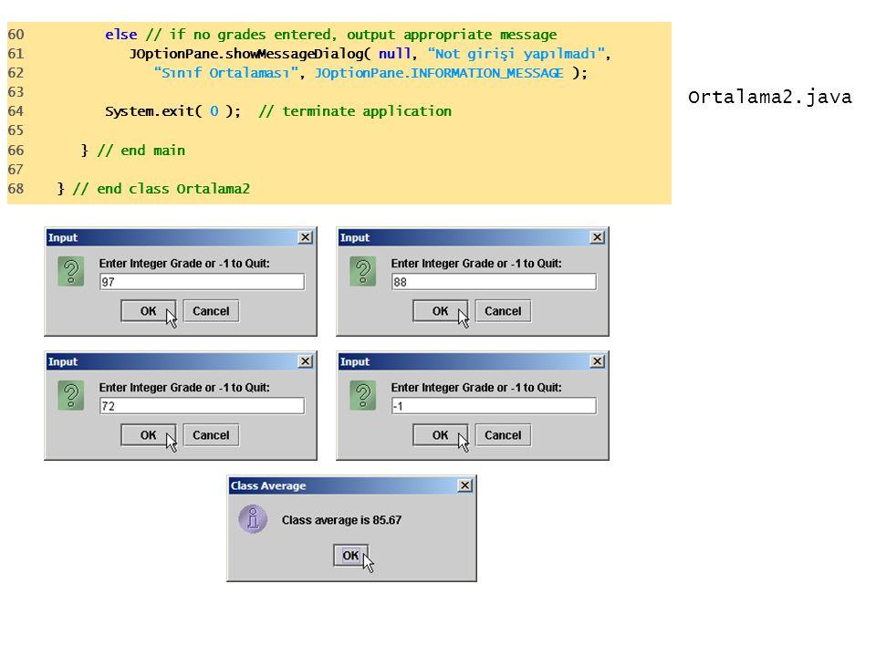 "Ortalama2.java 60 else // if no grades entered, output appropriate message 61 JOptionPane.showMessageDialog( null, ""Not girişi yapılmadı"