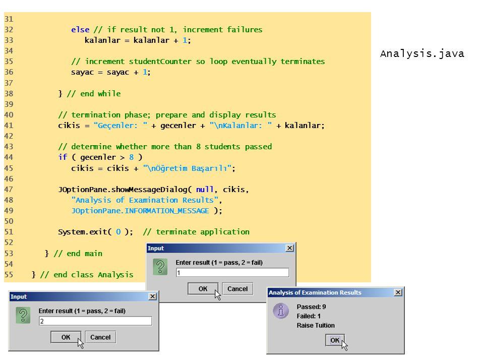 Analysis.java 31 32 else // if result not 1, increment failures 33 kalanlar = kalanlar + 1; 34 35 // increment studentCounter so loop eventually termi