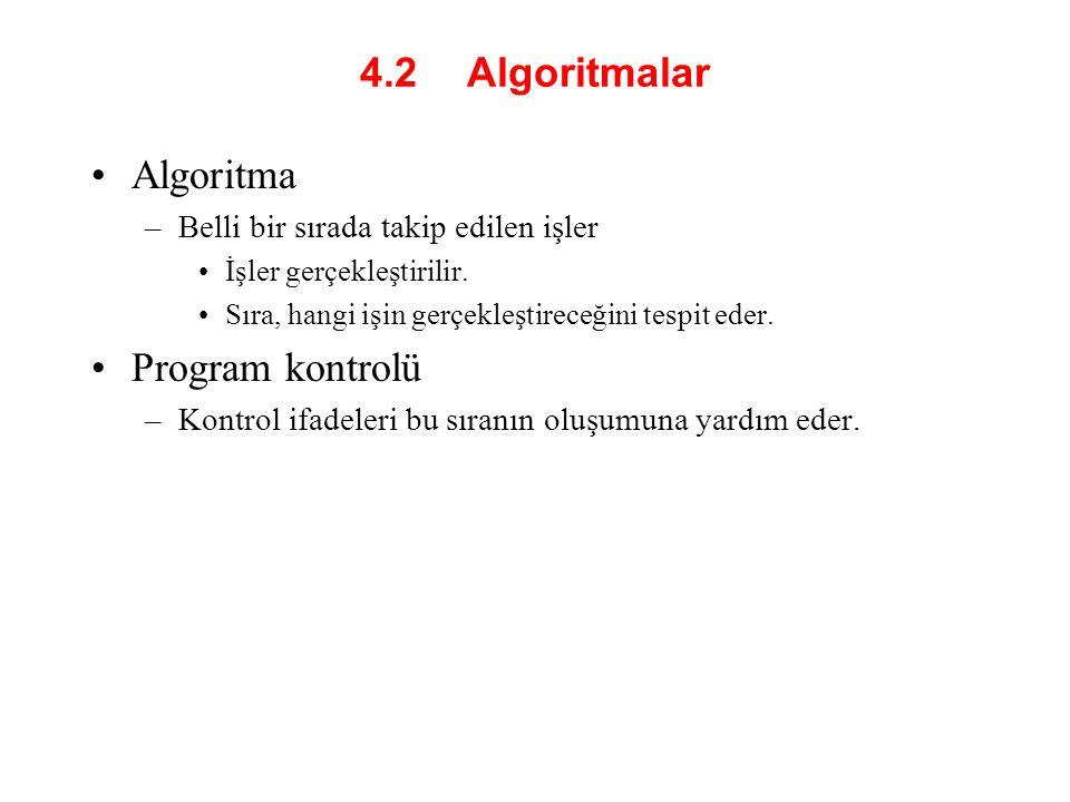 4.2 Algoritmalar Algoritma –Belli bir sırada takip edilen işler İşler gerçekleştirilir. Sıra, hangi işin gerçekleştireceğini tespit eder. Program kont