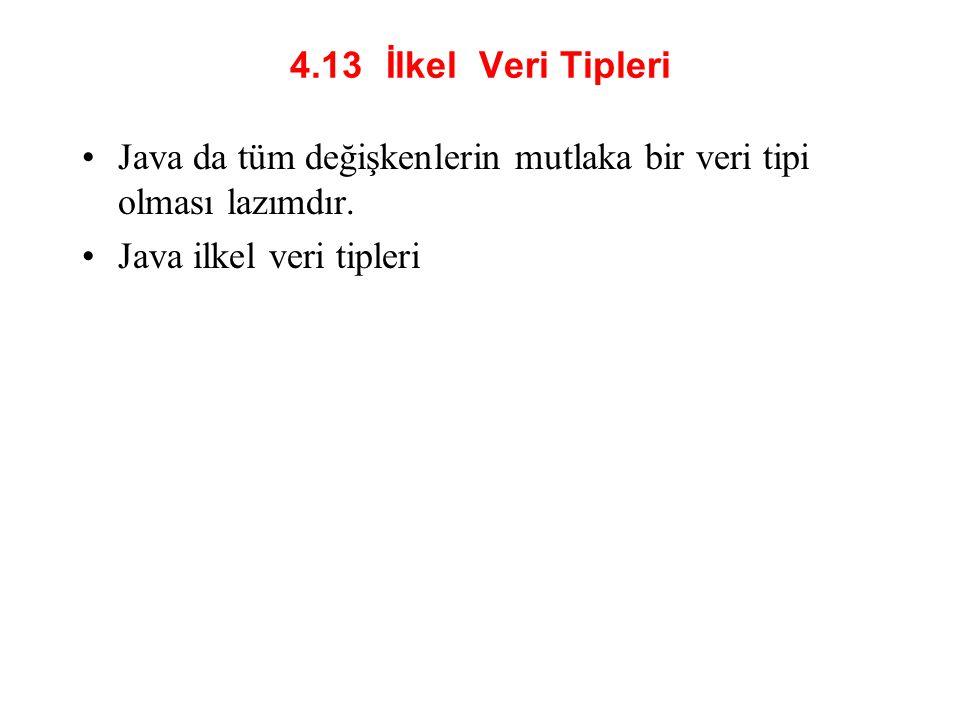 4.13 İlkel Veri Tipleri Java da tüm değişkenlerin mutlaka bir veri tipi olması lazımdır. Java ilkel veri tipleri