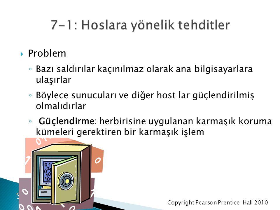 Copyright Pearson Prentice-Hall 2010  Problem ◦ Bazı saldırılar kaçınılmaz olarak ana bilgisayarlara ulaşırlar ◦ Böylece sunucuları ve diğer host lar