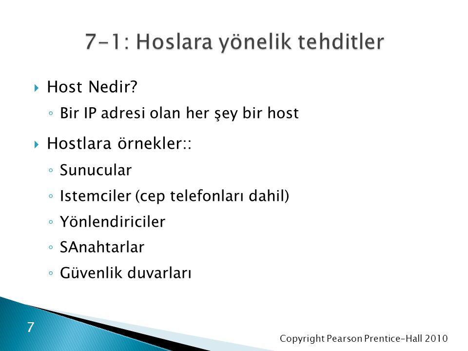 Copyright Pearson Prentice-Hall 2010  Host Nedir? ◦ Bir IP adresi olan her şey bir host  Hostlara örnekler:: ◦ Sunucular ◦ Istemciler (cep telefonla