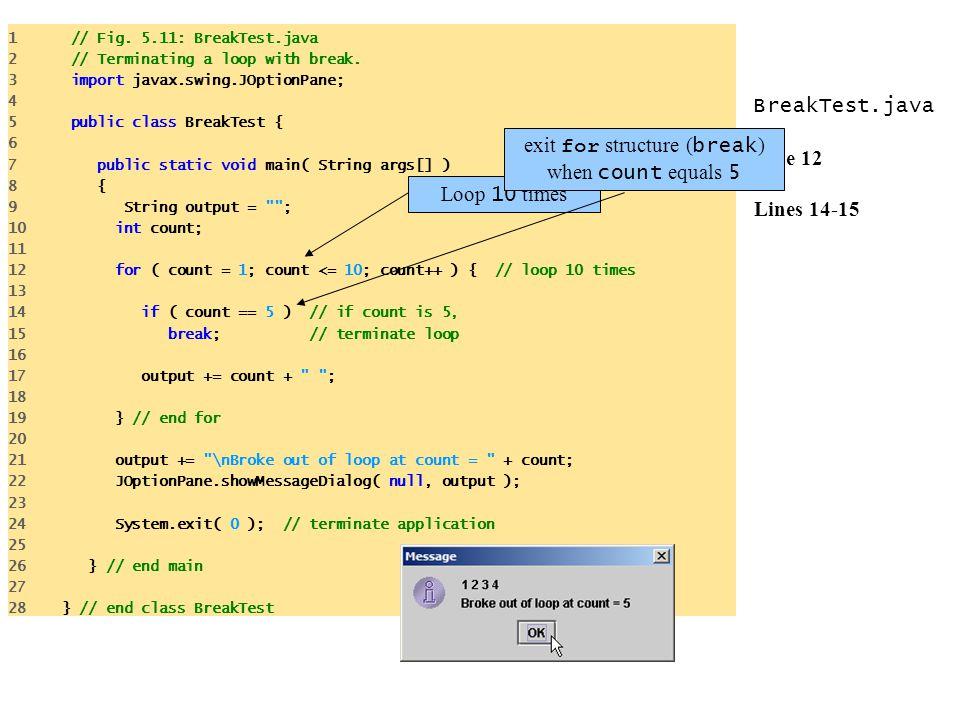 BreakTest.java Line 12 Lines 14-15 1 // Fig. 5.11: BreakTest.java 2 // Terminating a loop with break. 3 import javax.swing.JOptionPane; 4 5 public cla