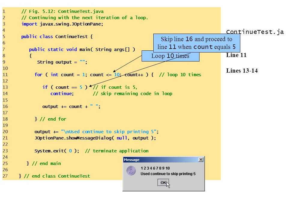 ContinueTest.ja va Line 11 Lines 13-14 1 // Fig. 5.12: ContinueTest.java 2 // Continuing with the next iteration of a loop. 3 import javax.swing.JOpti