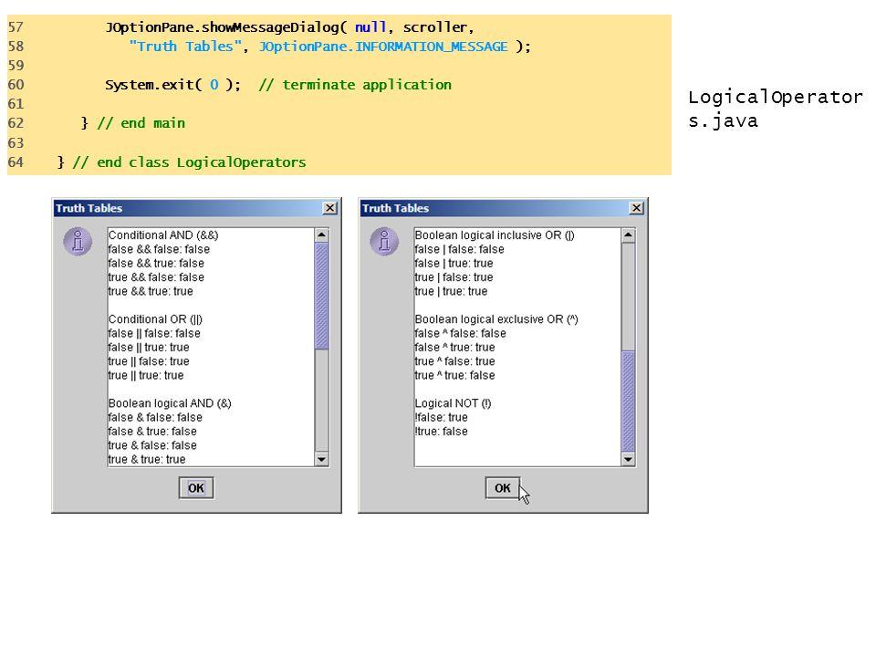 LogicalOperator s.java 57 JOptionPane.showMessageDialog( null, scroller, 58 Truth Tables , JOptionPane.INFORMATION_MESSAGE ); 59 60 System.exit( 0 ); // terminate application 61 62 } // end main 63 64 } // end class LogicalOperators