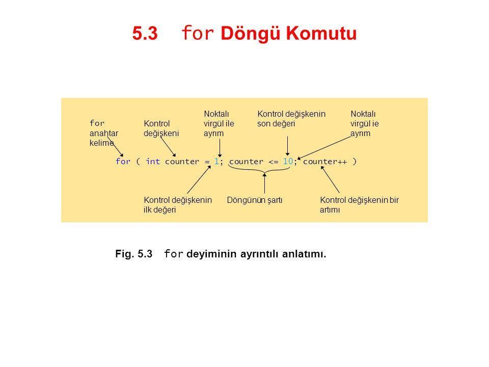 5.3 for Döngü Komutu Fig. 5.3 for deyiminin ayrıntılı anlatımı. for ( int counter = 1; counter <= 10; counter++ ) Kontrol değişkenin bir artımı Kontro