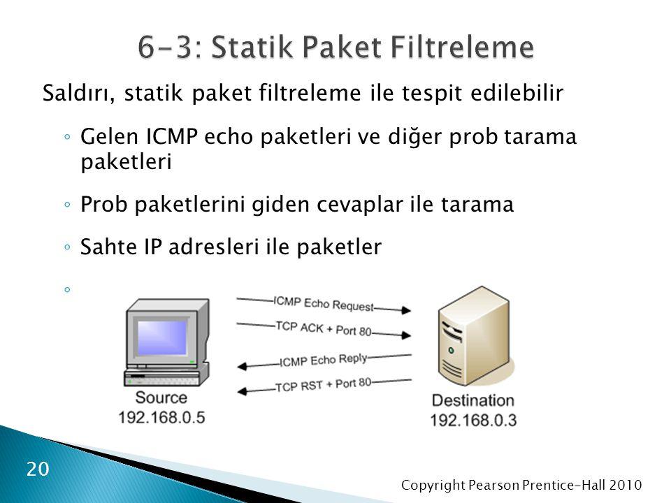Copyright Pearson Prentice-Hall 2010 Saldırı, statik paket filtreleme ile tespit edilebilir ◦ Gelen ICMP echo paketleri ve diğer prob tarama paketleri ◦ Prob paketlerini giden cevaplar ile tarama ◦ Sahte IP adresleri ile paketler ◦ 20