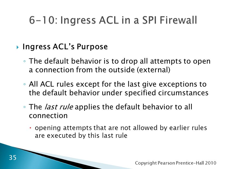 Copyright Pearson Prentice-Hall 2010  Ingress ACL's Purpose ◦ The default behavior is to drop all attempts to open a connection from the outside (ext