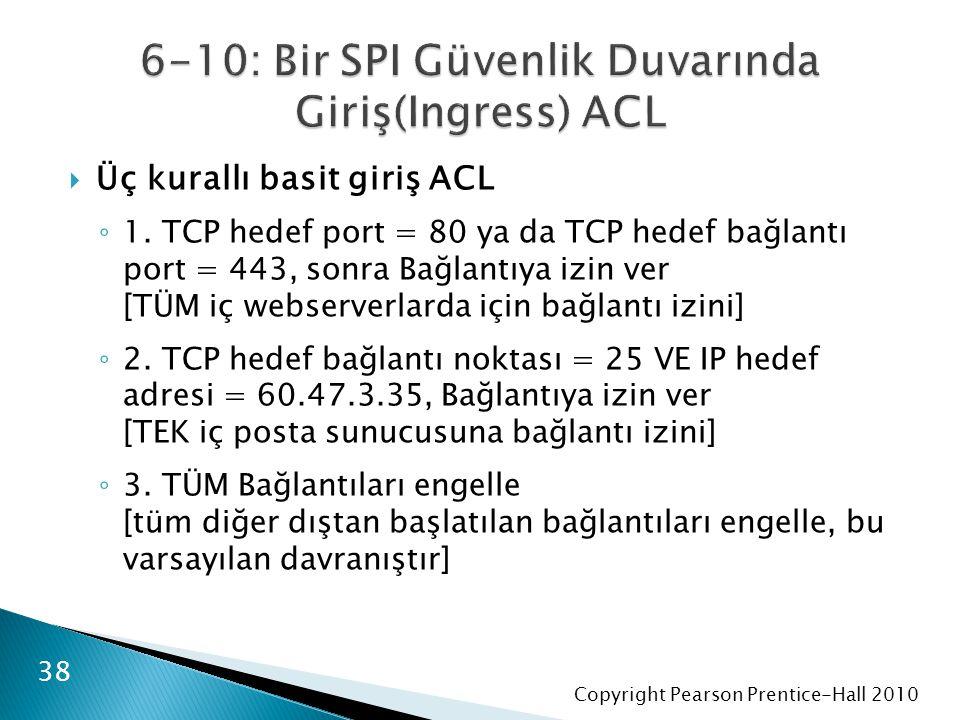 Copyright Pearson Prentice-Hall 2010  Üç kurallı basit giriş ACL ◦ 1.