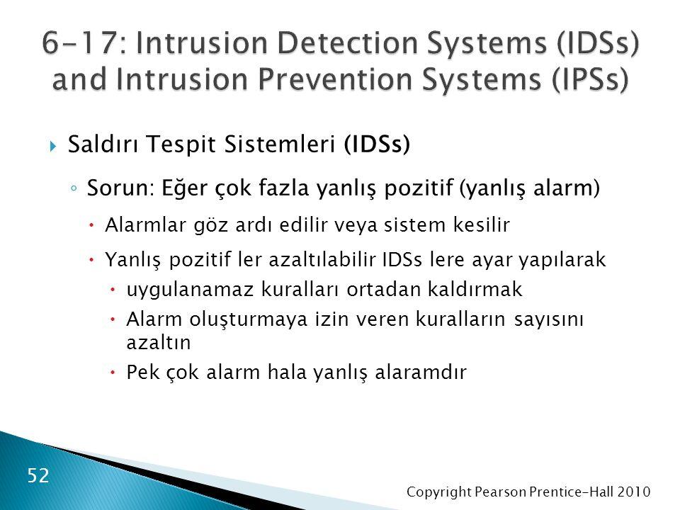 Copyright Pearson Prentice-Hall 2010  Saldırı Tespit Sistemleri (IDSs) ◦ Sorun: Eğer çok fazla yanlış pozitif (yanlış alarm)  Alarmlar göz ardı edilir veya sistem kesilir  Yanlış pozitif ler azaltılabilir IDSs lere ayar yapılarak  uygulanamaz kuralları ortadan kaldırmak  Alarm oluşturmaya izin veren kuralların sayısını azaltın  Pek çok alarm hala yanlış alaramdır 52