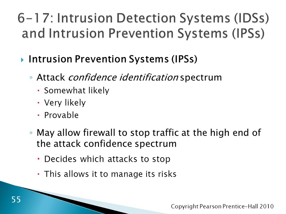 Copyright Pearson Prentice-Hall 2010  Intrusion Prevention Systems (IPSs) ◦ Attack confidence identification spectrum  Somewhat likely  Very likely  Provable ◦ May allow firewall to stop traffic at the high end of the attack confidence spectrum  Decides which attacks to stop  This allows it to manage its risks 55