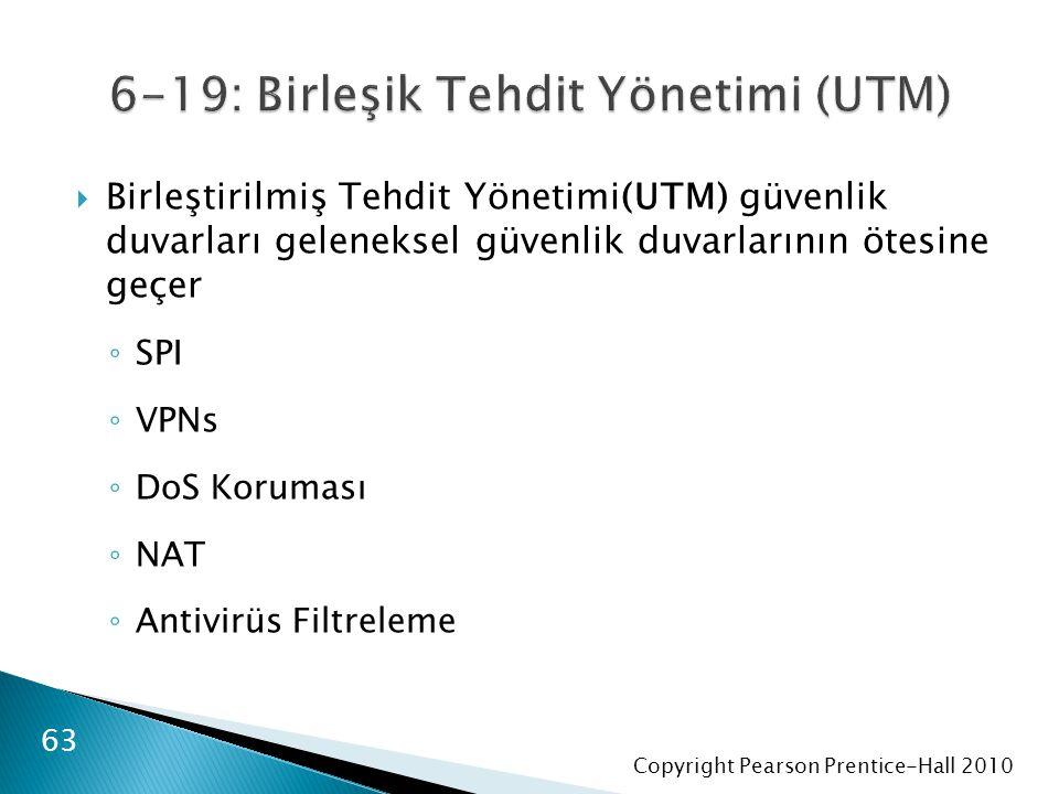 Copyright Pearson Prentice-Hall 2010  Birleştirilmiş Tehdit Yönetimi(UTM) güvenlik duvarları geleneksel güvenlik duvarlarının ötesine geçer ◦ SPI ◦ VPNs ◦ DoS Koruması ◦ NAT ◦ Antivirüs Filtreleme 63