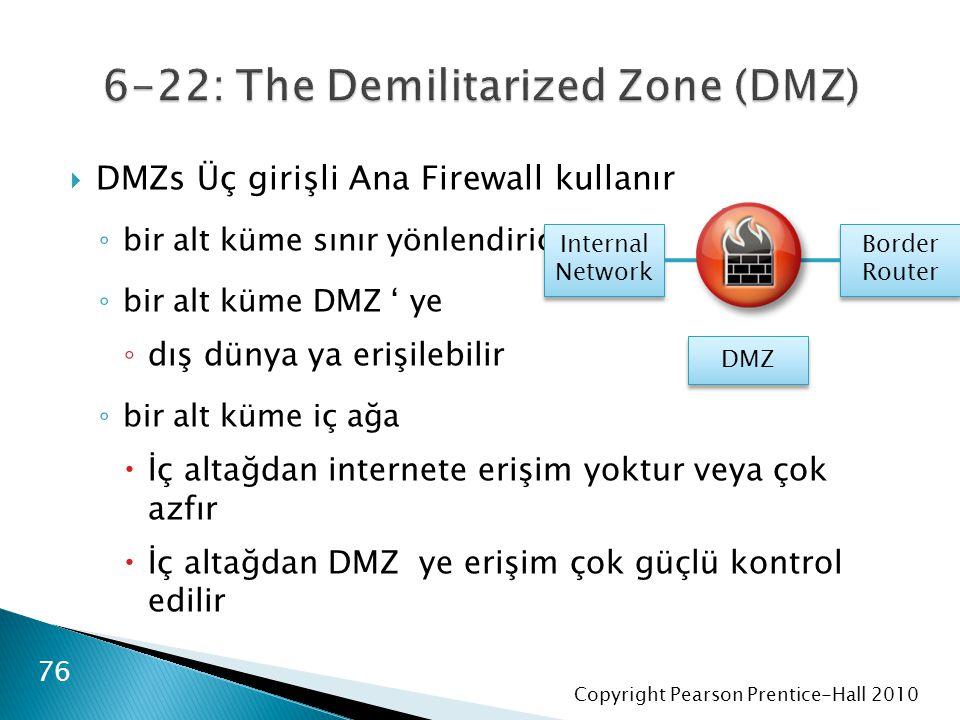 Copyright Pearson Prentice-Hall 2010  DMZs Üç girişli Ana Firewall kullanır ◦ bir alt küme sınır yönlendirici ◦ bir alt küme DMZ ' ye ◦ dış dünya ya erişilebilir ◦ bir alt küme iç ağa  İç altağdan internete erişim yoktur veya çok azfır  İç altağdan DMZ ye erişim çok güçlü kontrol edilir 76 DMZ Internal Network Internal Network Border Router Border Router