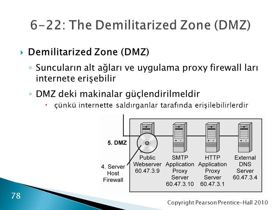 Copyright Pearson Prentice-Hall 2010  Demilitarized Zone (DMZ) ◦ Suncuların alt ağları ve uygulama proxy firewall ları internete erişebilir ◦ DMZ deki makinalar güçlendirilmeldir  çünkü internette saldırganlar tarafında erişilebilirlerdir 78