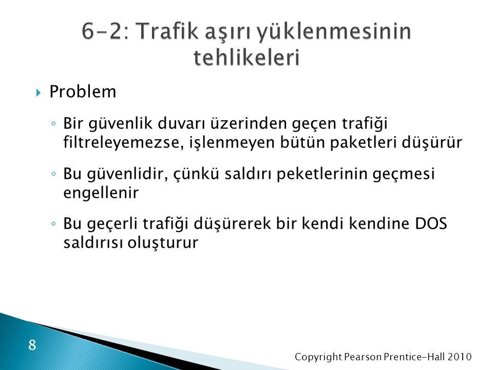 Copyright Pearson Prentice-Hall 2010  Problem ◦ Bir güvenlik duvarı üzerinden geçen trafiği filtreleyemezse, işlenmeyen bütün paketleri düşürür ◦ Bu güvenlidir, çünkü saldırı peketlerinin geçmesi engellenir ◦ Bu geçerli trafiği düşürerek bir kendi kendine DOS saldırısı oluşturur 8