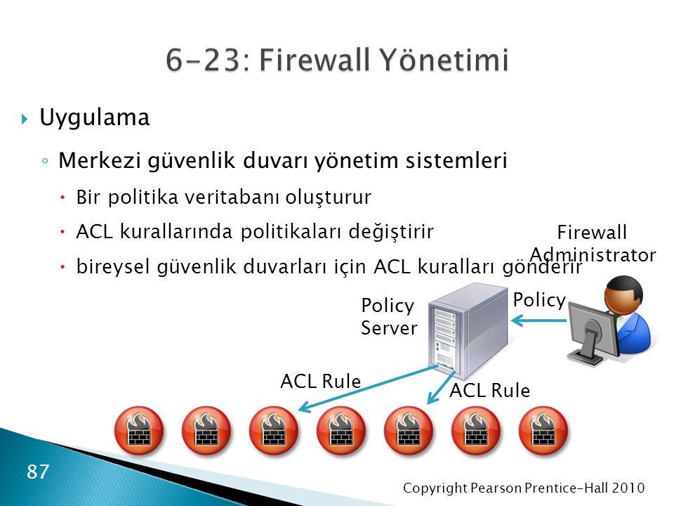 Copyright Pearson Prentice-Hall 2010  Uygulama ◦ Merkezi güvenlik duvarı yönetim sistemleri  Bir politika veritabanı oluşturur  ACL kurallarında politikaları değiştirir  bireysel güvenlik duvarları için ACL kuralları gönderir 87 Policy Server Firewall Administrator Policy ACL Rule