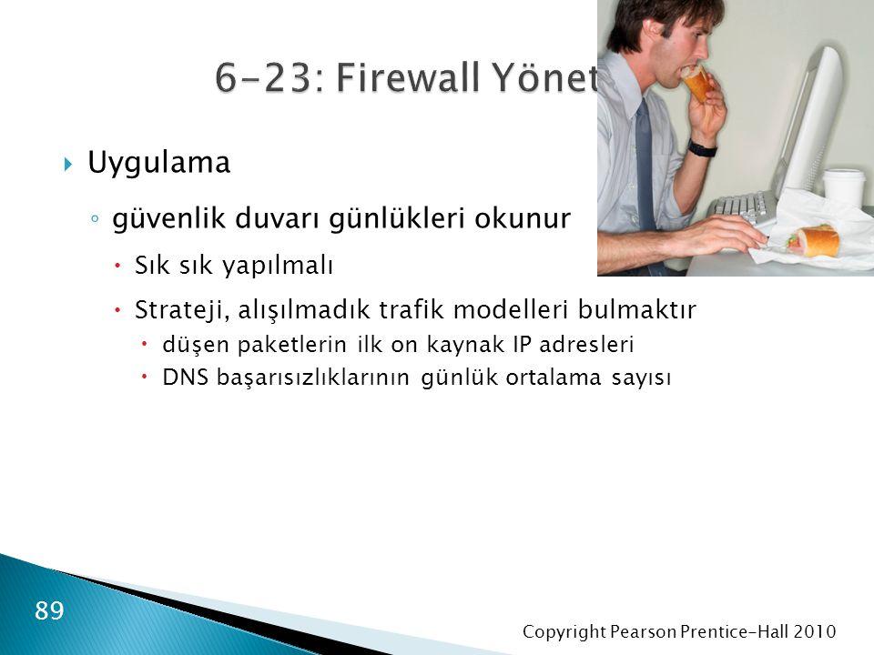 Copyright Pearson Prentice-Hall 2010  Uygulama ◦ güvenlik duvarı günlükleri okunur  Sık sık yapılmalı  Strateji, alışılmadık trafik modelleri bulmaktır  düşen paketlerin ilk on kaynak IP adresleri  DNS başarısızlıklarının günlük ortalama sayısı 89