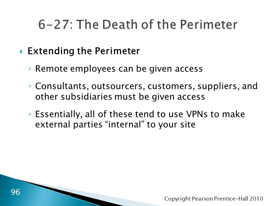 Copyright Pearson Prentice-Hall 2010  Extending the Perimeter ◦ Remote employees can be given access ◦ Consultants, outsourcers, customers, suppliers, and other subsidiaries must be given access ◦ Essentially, all of these tend to use VPNs to make external parties internal to your site 96