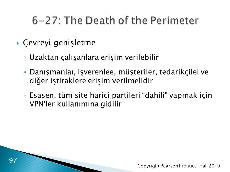 Copyright Pearson Prentice-Hall 2010  Çevreyi genişletme ◦ Uzaktan çalışanlara erişim verilebilir ◦ Danışmanlaı, işverenlee, müşteriler, tedarikçilei ve diğer iştiraklere erişim verilmelidir ◦ Esasen, tüm site harici partileri dahili yapmak için VPN ler kullanımına gidilir 97