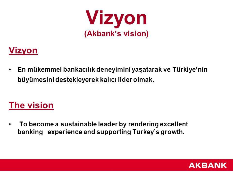 Misyon (Akbank's mission) Misyon Üstün nitelikli insan kaynağının paydaşlarına sürekli büyük değer yarattığı en beğenilen Türk şirketi olmak.